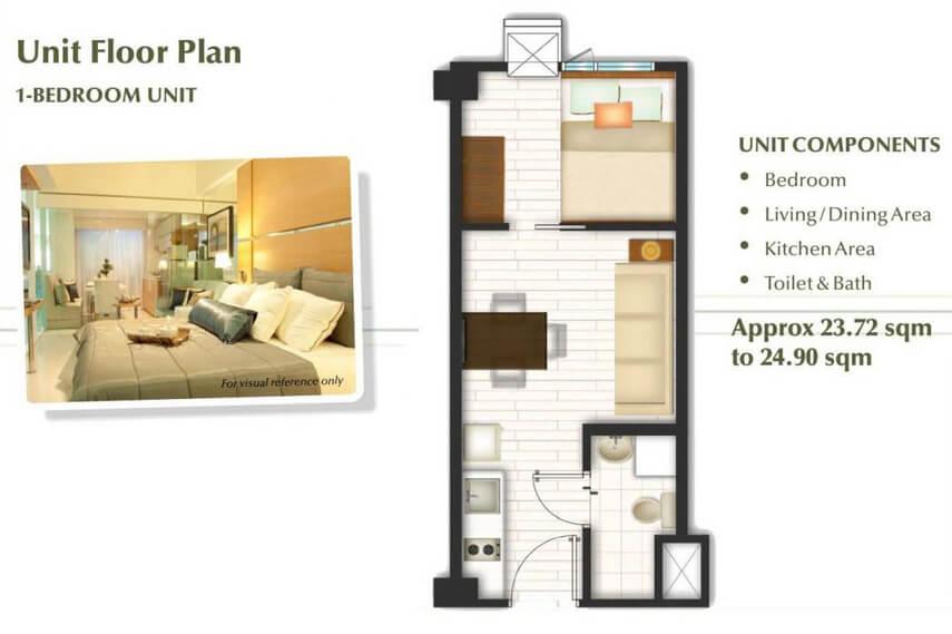 1 Bedroom Unit Floor plan - Trees Residences