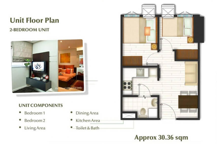 2 Bedroom Unit Floor plan - Trees Residences
