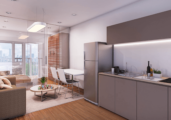 Dressed-up Kitchen and Living Area - Trees Residences