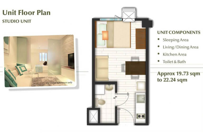 Studio Unit Floor plan - Trees Residences